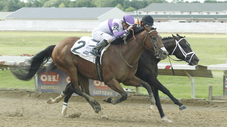 Irap, forefront, eventually edged past Girvin in a long and valiant stretch run in the 2017 Ohio Derby