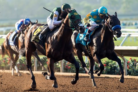 Bolt D'oro overtook Zatter in the Del Mar Futurity G1 Sept.4 2017